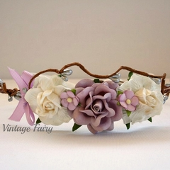 Lilac and rose Flower Crown By Vintage Fairy