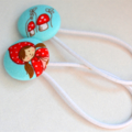 Red Riding Hood aqua 2 covered button, pony tail holders 1-3 pair $3 postage.