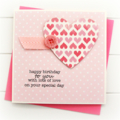 Happy Birthday card for her pink paper heart polka dots teen girl Mum Sister Oma