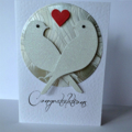 Congratulations glitter lovebirds silver red love heart engagement wedding card