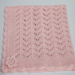 Baby Blanket | Hand Knitted PINK Merino Wool | Pram Stroller Car | Ready to Ship