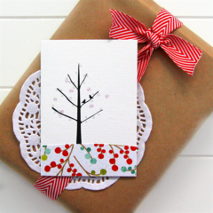 5 Blank cards | Gift Tags Mini | Birds and Tree | Birthday Thank You Christmas