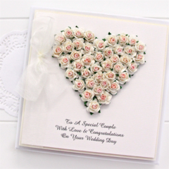 Personalised Wedding card keepsake boxed roses heart ivory and pink bride groom