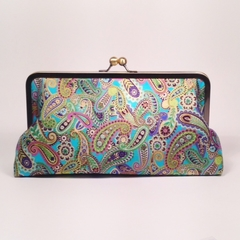 Metallic paisley on turquoise large clutch purse