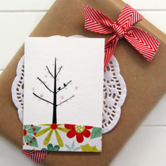 5 Christmas gift tags cards mini birds and tree poinsettia holly blank thank you