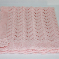 Baby Blanket | Hand Knitted PINK Merino Wool | Pram Stroller Car | Ready to Ship