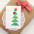 5 Mini Christmas Gift Cards, Handmade Blank Gift Tags, Geometric Buttons Tree