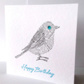 SET OF 3 newsprint bird happy birthday handmade card with aqua print
