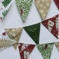 Mini Christmas bunting, flags or banner - beautiful colors of greens, rich red