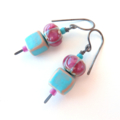 Skewer blue and pink earrings by Sasha+Max Studio