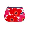 Coin purse - Marimekko unikko floral in red, pink & navy blue