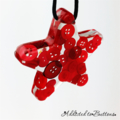 Christmas Button Stars RED x2 pack - Decoration - Resin - Buttons - Hanging