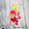 Yellow Head Man - Pink Buttons - Christmas Decoration - Resin - Button - Hanging