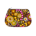 Coin purse - Vintage fabric - Retro floral in pink, yellow & green on brown
