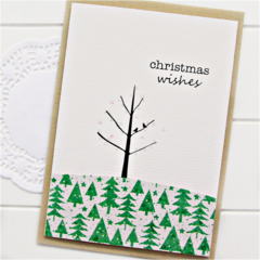 4 Handmade Christmas Cards, Birds and Tree, Nature, Christmas Wishes