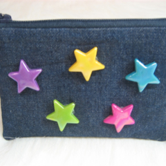 Denim and Stars Coin Purse