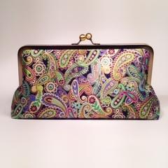 Metallic paisley on black large clutch purse