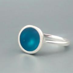 Teal Blue Resin Ring