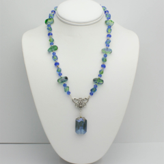 Blue Necklace with Matching Earrings