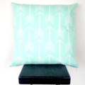 Double Sided Mint Arrow and Chevron Cushion Cover