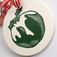 Christmas pudding linocut letterpress gift tags , pack of 5