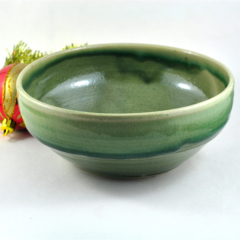 Ceramic Stoneware Bowl Green Unique Handmade Pottery Home Décor Gift