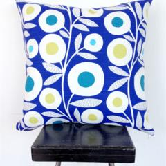 Blue Retro Flower Cushion Cover