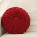 Burgundy Coloured Vintage Style  Velvet round cushion
