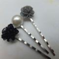 Black Grey & White Pearl Hair Clips-3 hair clips