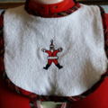 Embroidered Christmas Bib and Burp cloth set - Santa Claus motif - Medium