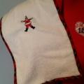 Embroidered Christmas Bib and Burp cloth set - Santa Claus motif - Newborn