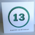 Happy birthday 13 any age teal aqua glitter number circle layer boy girl card