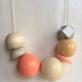 Hand made wooden and clay necklace