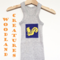 Size 0 Woodlands Creatures  Cute Squirrel Grey Singlet, 100% Cotton, Baby Gifts