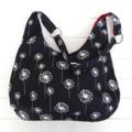 Dandelion Hobo Handbag Purse Black and White Ladies