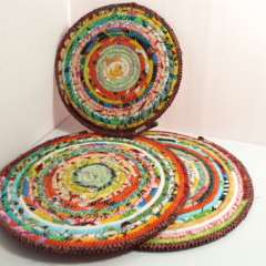 Custom order for Megs - Coiled fabric trivets - set of 3 (2)