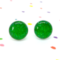 Green glitter resin sparkle studs - Surgical steel posts