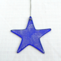 Unique Fused Glass Dark Blue Star, Sun Catcher - Christmas Decoration