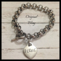 Personalised Hand Stamped Silver Rolo Bracelet name dates or quote heart pendant