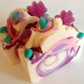 Black Raspberry & Vanilla Handmade Soap 110g, pink, purple, flowers,