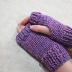 Child fingerless gloves - pink purple mauve merino wool / girl 4-7 years
