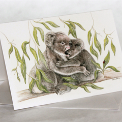 Koala greeting card, Australian wildlife art, cuddle, favourite, icon
