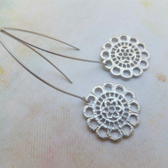 Rhodium Lace Flower Earrings