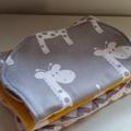 Burp Cloths - Set of 3 - Super Absorbent - Grey Giraffe, Yellow Giraffe -chevron