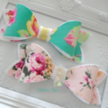 Green and pink floral bow pair headband or clip - your choice