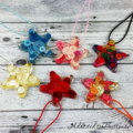 Set of 6 Christmas Button Stars - Decoration - Resin - Buttons - Hanging
