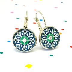 Earrings - Denim blue & green floral wheels - Vintage patterns in resin