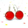 Leverback earrings - Red on red chevron zig zag - Resin