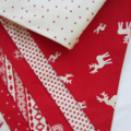 Christmas Bunting - Red and Natural White - Scandinavian prints - 3m