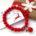 Teachers gift , red apple bracelet , gift tag and Christmas wrapping